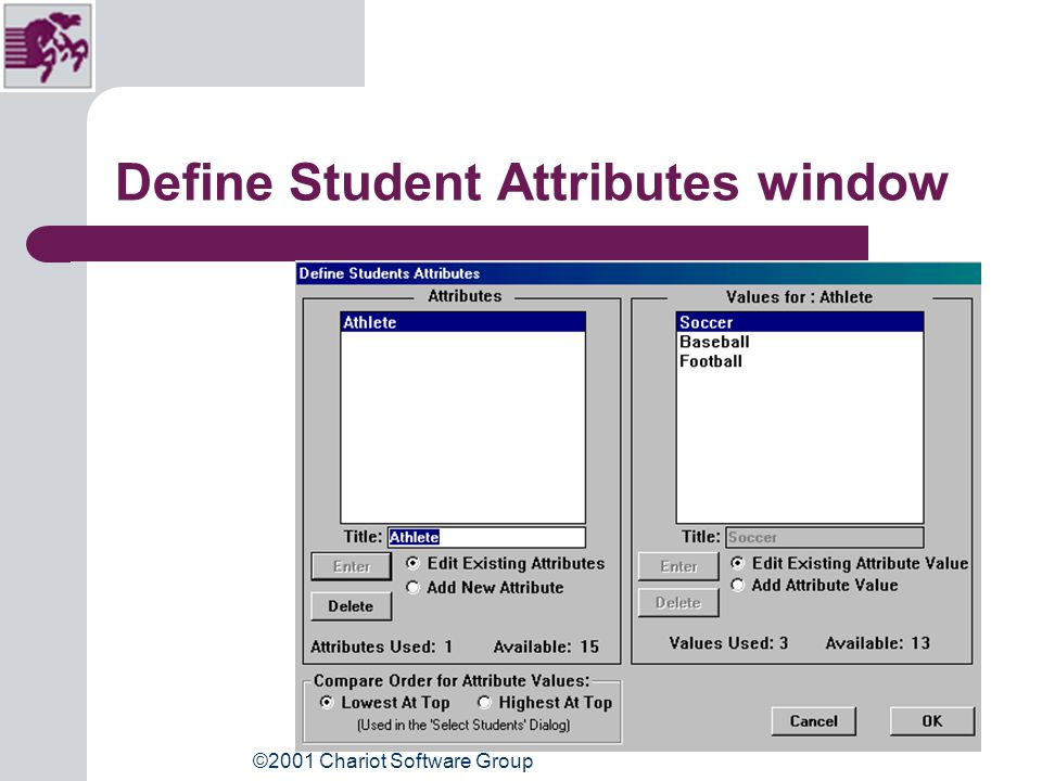 ©2001 Chariot Software Group Define Student Attributes Go To: Students, Define Student Attributes Click: Add New Attribute Type: Attribute title Click: Add Attribute Value Type: Values for Attribute ( i.e.