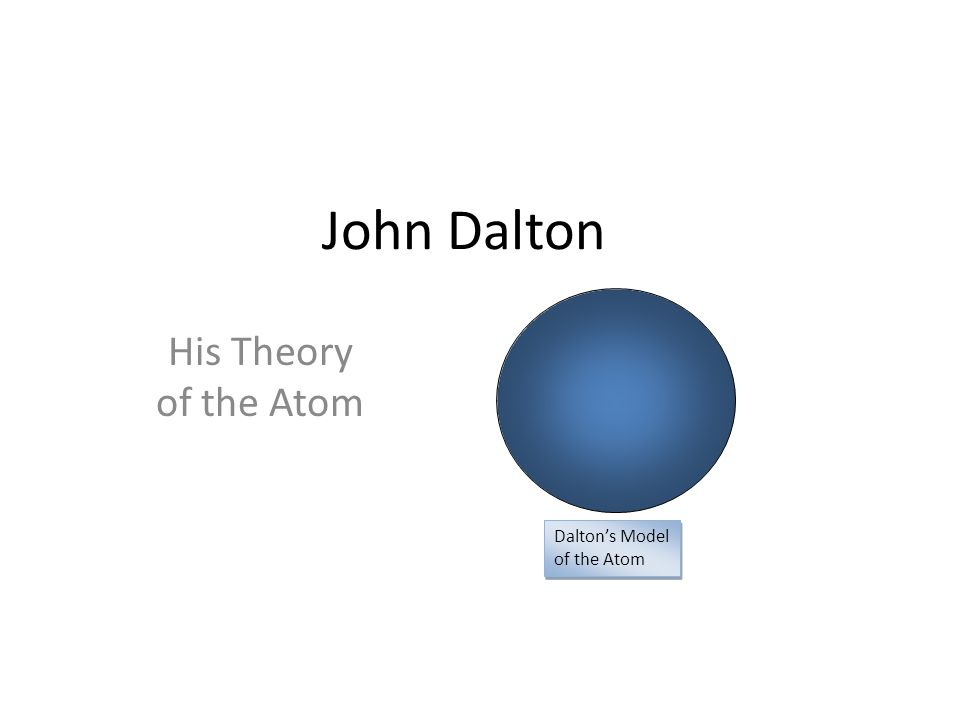 1 john dalton his theory of the atom dalton's model of the atom