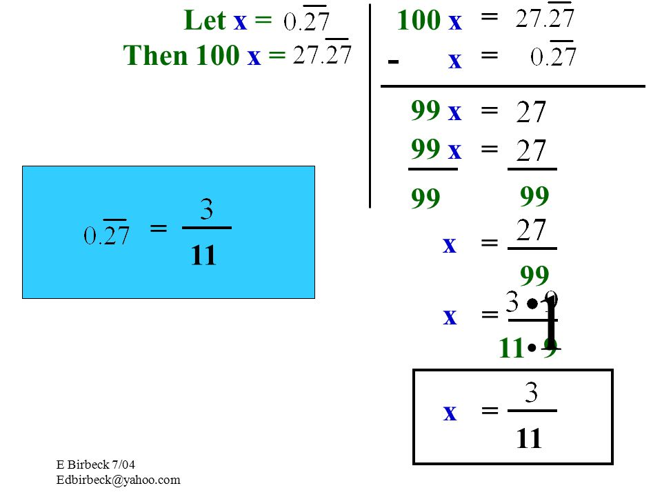 E Birbeck 7/04 Rational Numbers All terminating or repeating decimals Any number that can be written as a fraction can be written as a fraction Let x = Then 100 x = 100 x x - 99 x = = = = 99 x=
