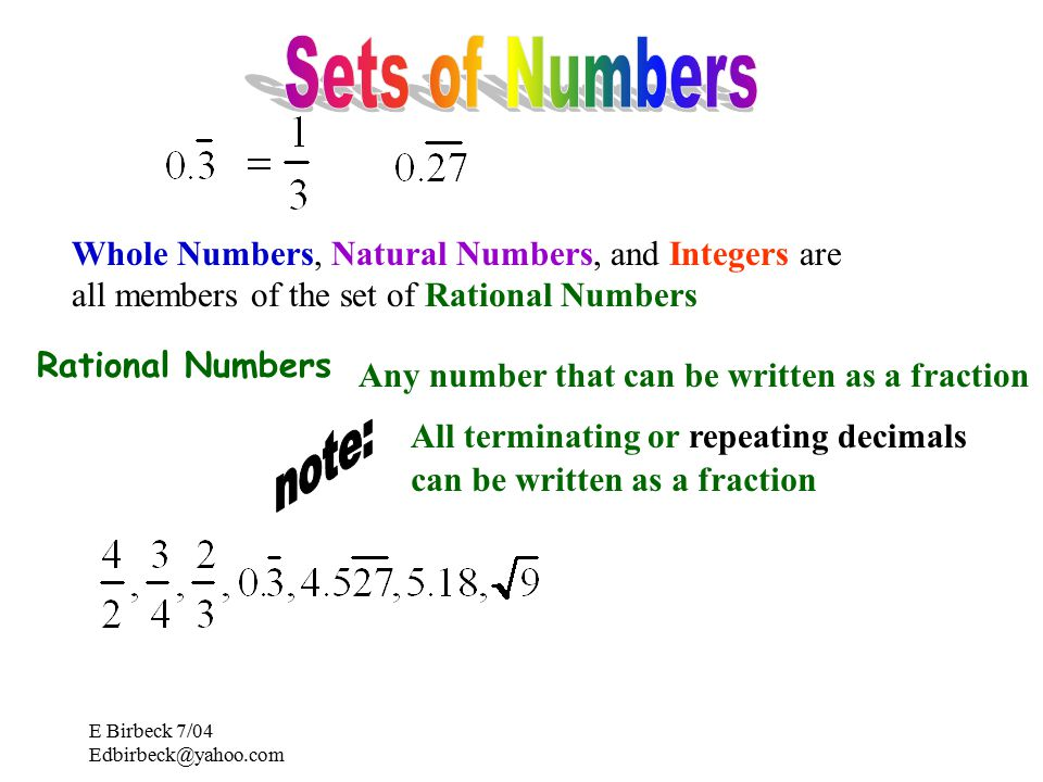E Birbeck 7/04 Rational Numbers All terminating or repeating decimals Any number that can be written as a fraction can be written as a fraction Whole Numbers, Natural Numbers, and Integers are all members of the set of Rational Numbers