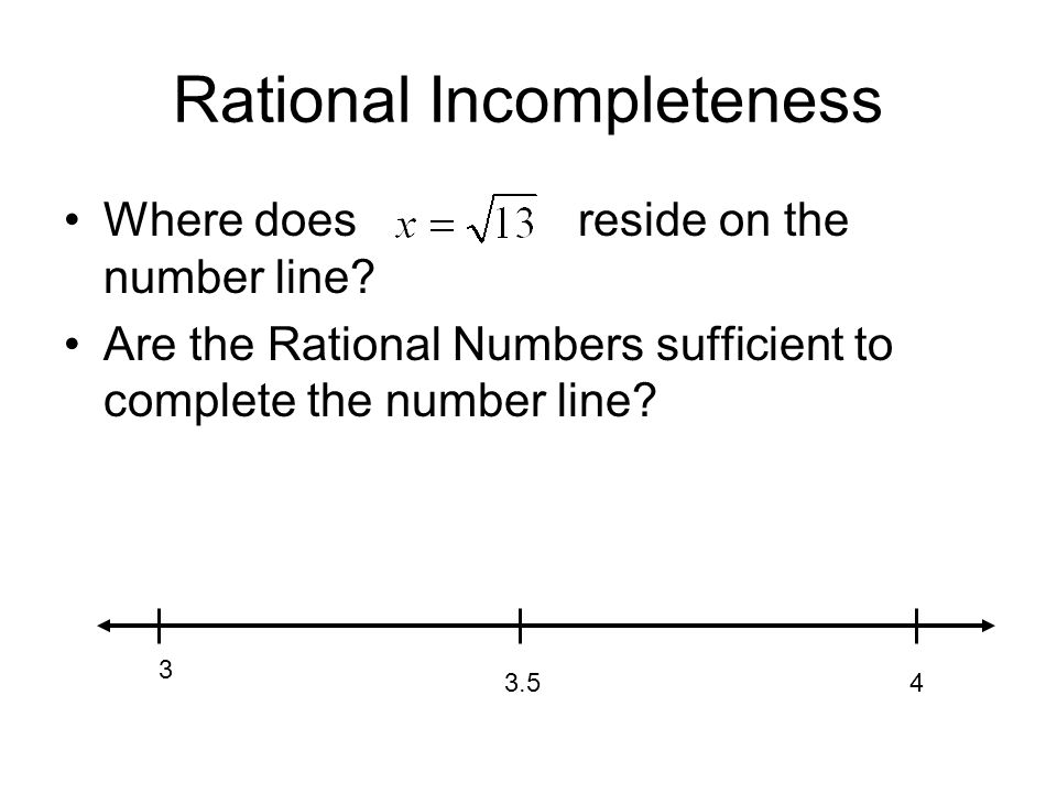 Rational Incompleteness Where does reside on the number line.