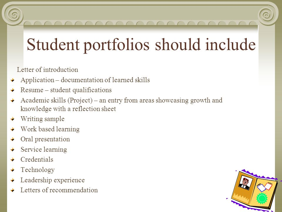Portfolios ultimate goal a portfolio should be something a student 3 student portfolios should include letter of introduction expocarfo Choice Image