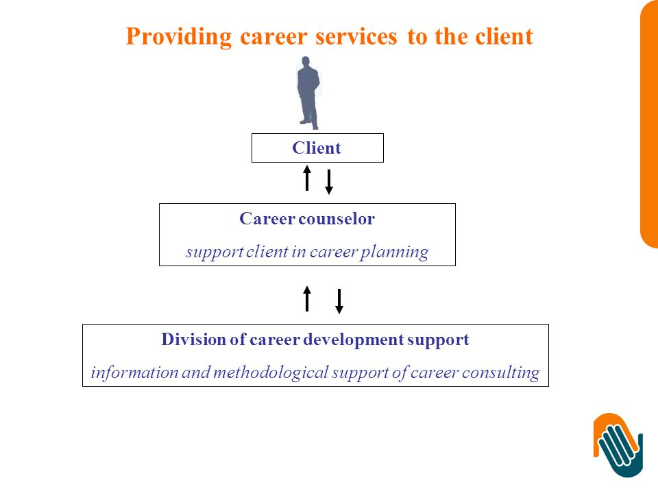 Providing career services to the client Client Career counselor support client in career planning Division of career development support information and methodological support of career consulting