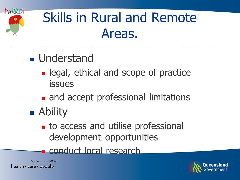 Skills in Rural and Remote Areas.