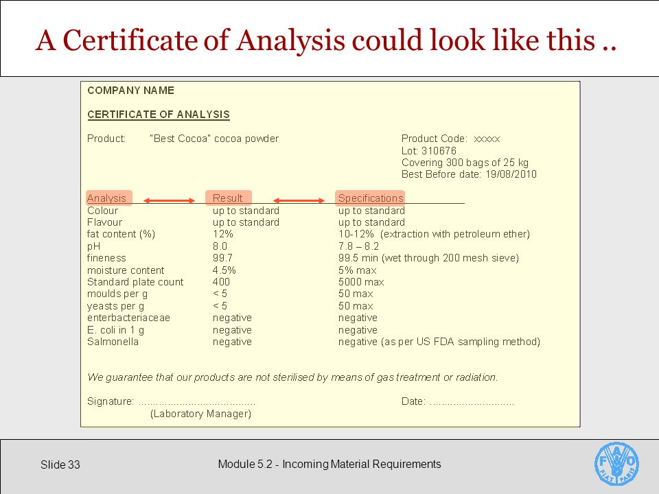 Slide 33 Module Incoming Material Requirements A Certificate of Analysis could look like this..