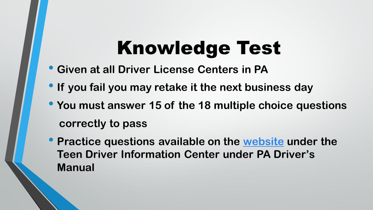 pa drivers license test book