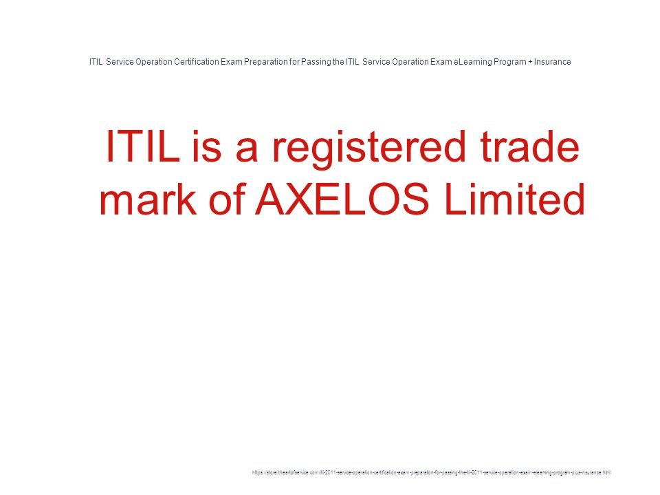 Itil Service Operation Certification Exam Preparation For Passing