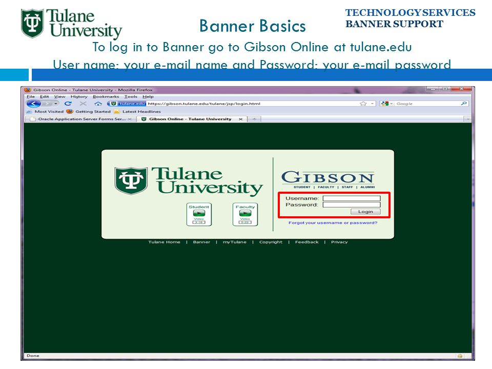 Tulane Gibson Online >> Banner Basics To Log In To Banner Go To Gibson Online At Tulane Edu