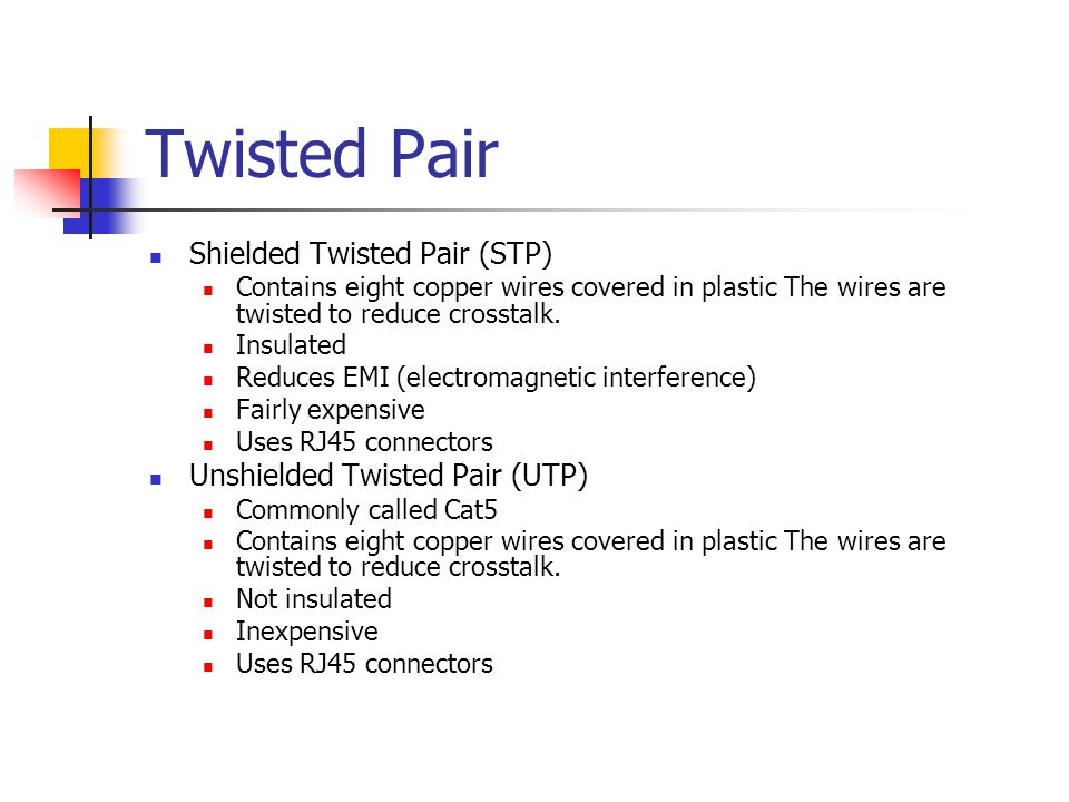 Twisted Pair Shielded Twisted Pair (STP) Contains eight copper wires covered in plastic The wires are twisted to reduce crosstalk.