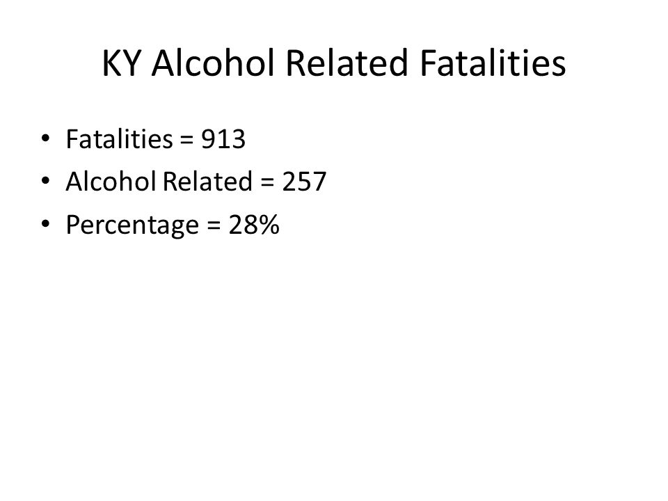 KY Alcohol Related Fatalities Fatalities = 913 Alcohol Related = 257 Percentage = 28%