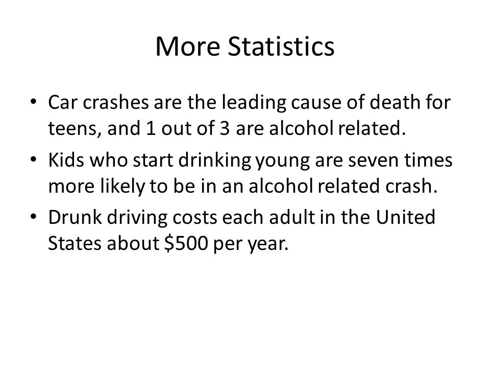 More Statistics Car crashes are the leading cause of death for teens, and 1 out of 3 are alcohol related.