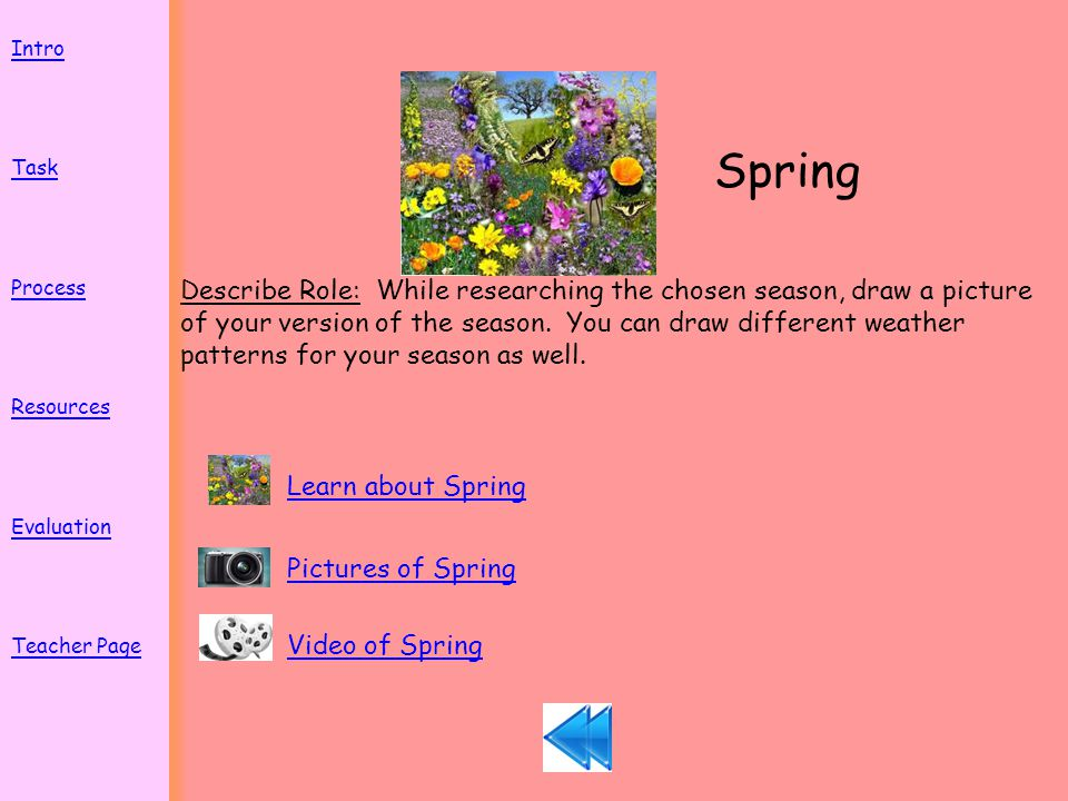 Spring Describe Role: While researching the chosen season, draw a picture of your version of the season.
