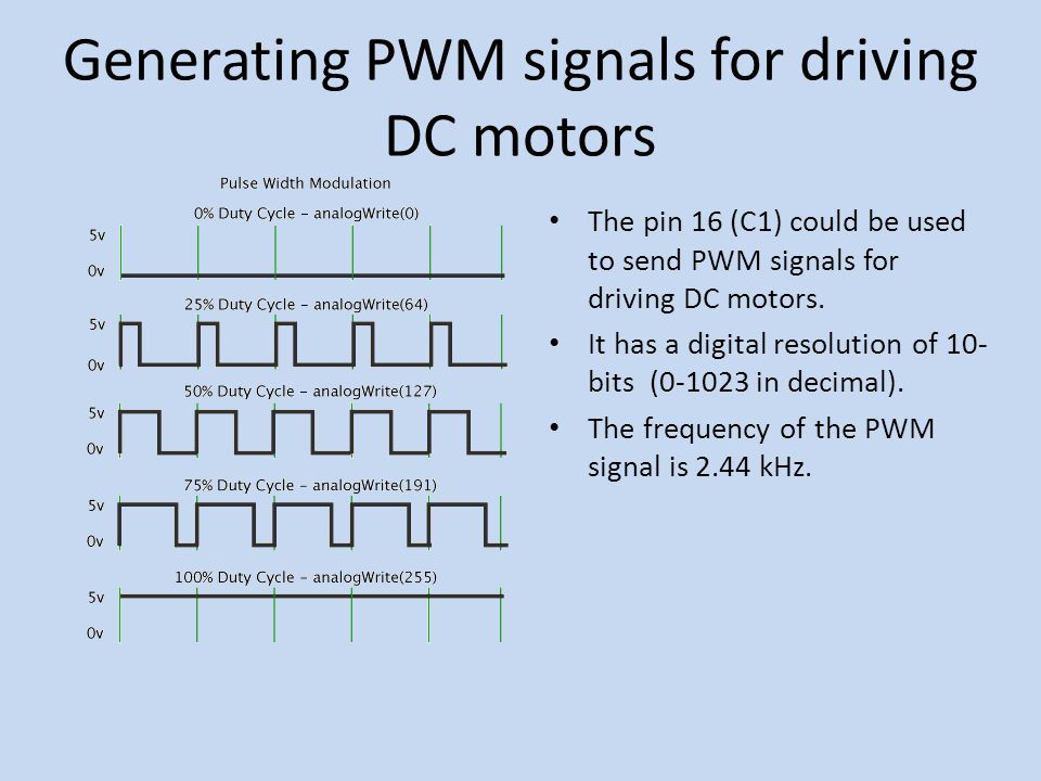 Generating PWM signals for driving DC motors The pin 16 (C1) could be used to send PWM signals for driving DC motors.
