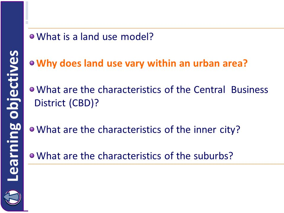 What is a land use model. Why does land use vary within an urban area.