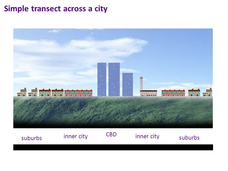 Simple transect across a city CBD inner city suburbs