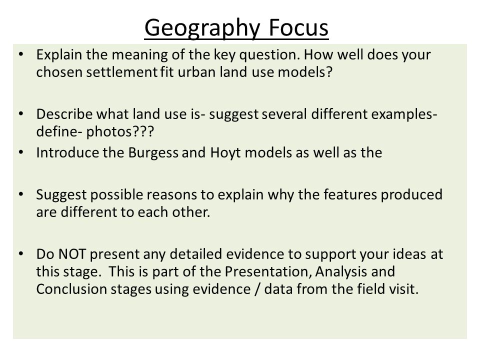 Geography Focus Explain the meaning of the key question.