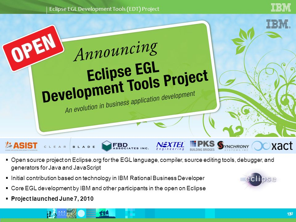 Eclipse EGL Development Tools Project An Evolution in Business