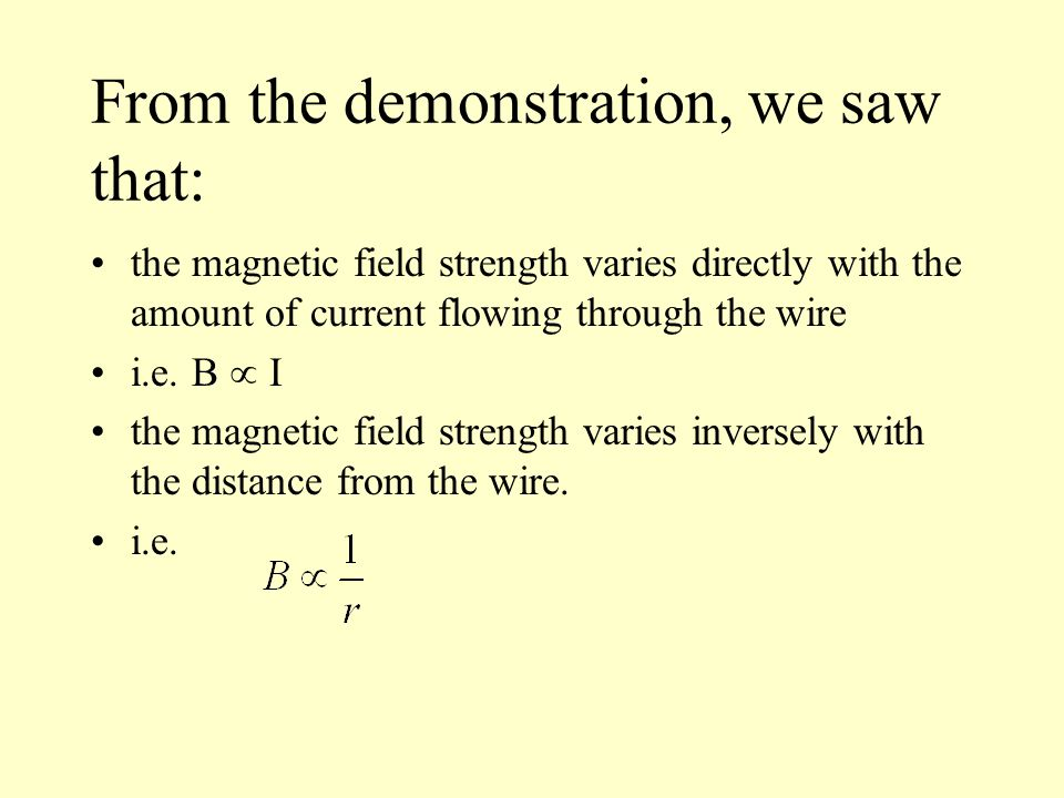 Wire  Strength   Magnetic Field Strength Around A Wire From The Demonstration We