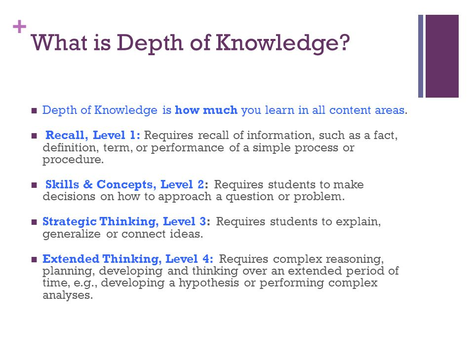 + What is Depth of Knowledge. Depth of Knowledge is how much you learn in all content areas.