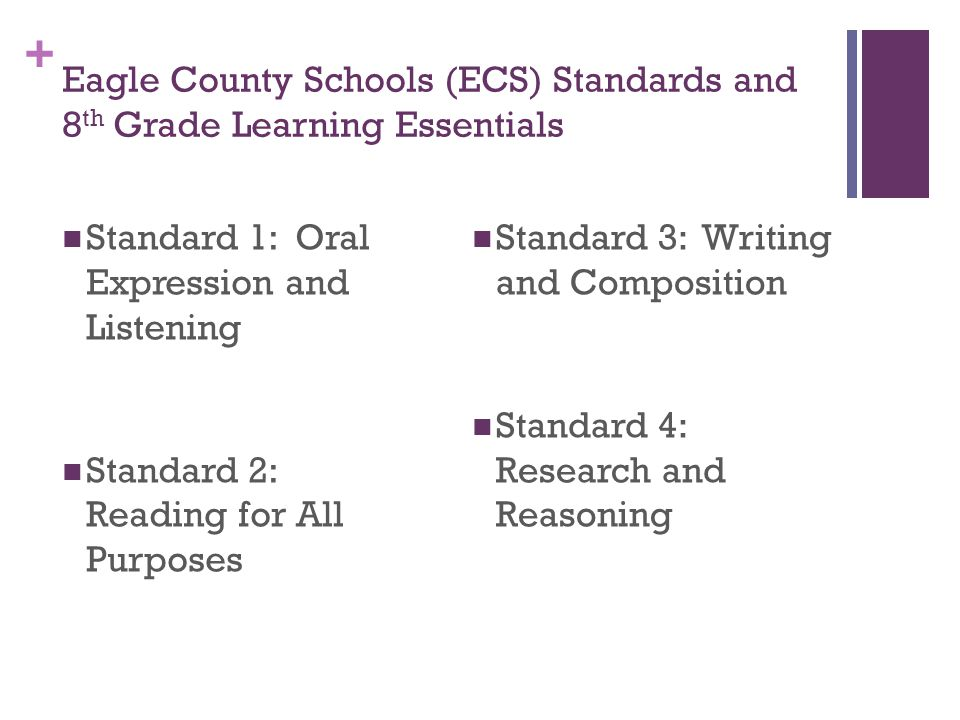 + Eagle County Schools (ECS) Standards and 8 th Grade Learning Essentials Standard 1: Oral Expression and Listening Standard 2: Reading for All Purposes Standard 3: Writing and Composition Standard 4: Research and Reasoning