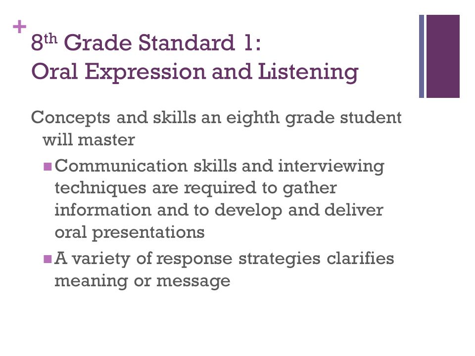 + 8 th Grade Standard 1: Oral Expression and Listening Concepts and skills an eighth grade student will master Communication skills and interviewing techniques are required to gather information and to develop and deliver oral presentations A variety of response strategies clarifies meaning or message