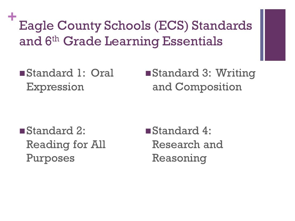 + Eagle County Schools (ECS) Standards and 6 th Grade Learning Essentials Standard 1: Oral Expression Standard 2: Reading for All Purposes Standard 3: Writing and Composition Standard 4: Research and Reasoning