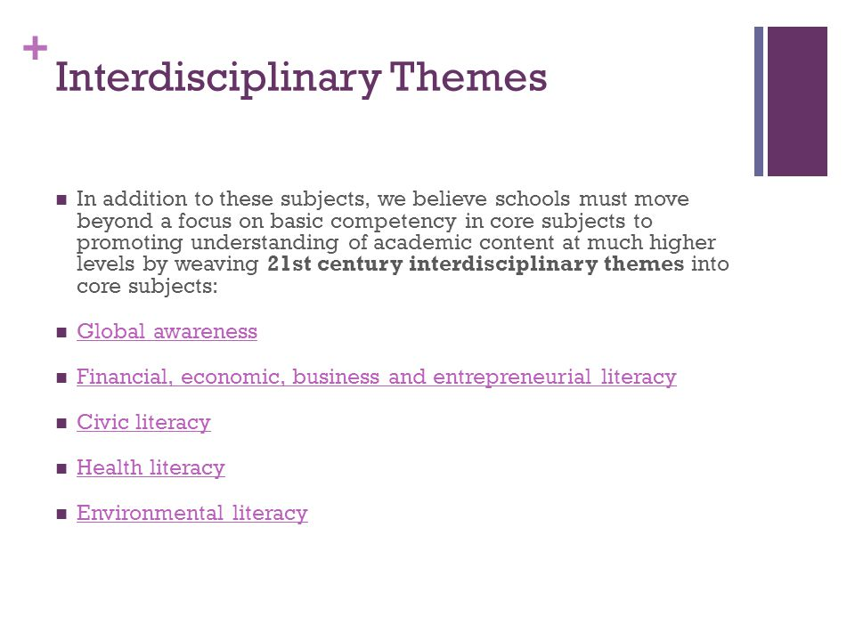 + Interdisciplinary Themes In addition to these subjects, we believe schools must move beyond a focus on basic competency in core subjects to promoting understanding of academic content at much higher levels by weaving 21st century interdisciplinary themes into core subjects: Global awareness Financial, economic, business and entrepreneurial literacy Civic literacy Health literacy Environmental literacy