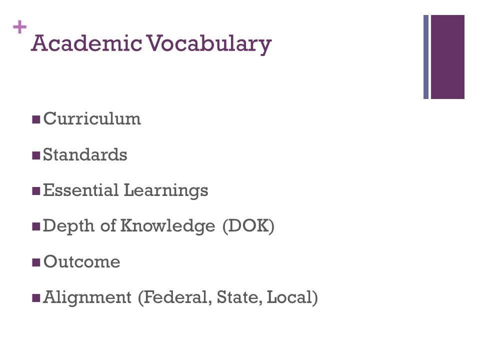 + Academic Vocabulary Curriculum Standards Essential Learnings Depth of Knowledge (DOK) Outcome Alignment (Federal, State, Local)