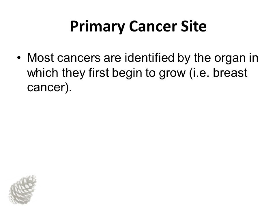 Primary Cancer Site Most cancers are identified by the organ in which they first begin to grow (i.e.