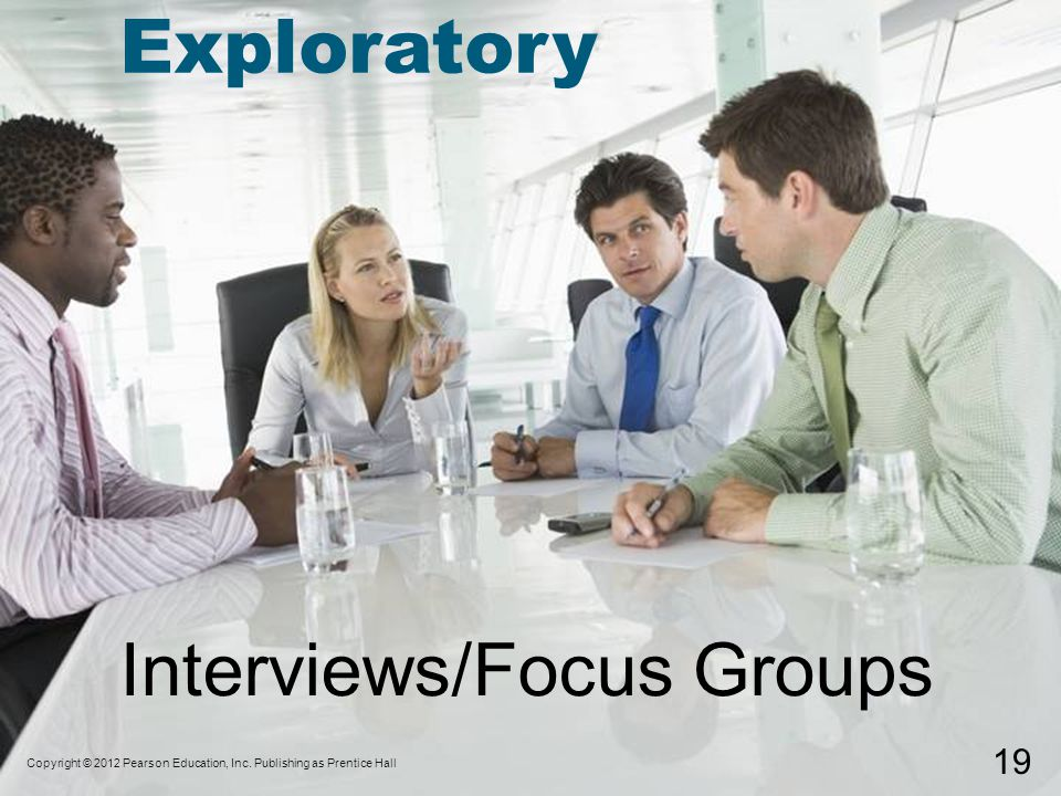 Interviews/Focus Groups Copyright © 2012 Pearson Education, Inc.