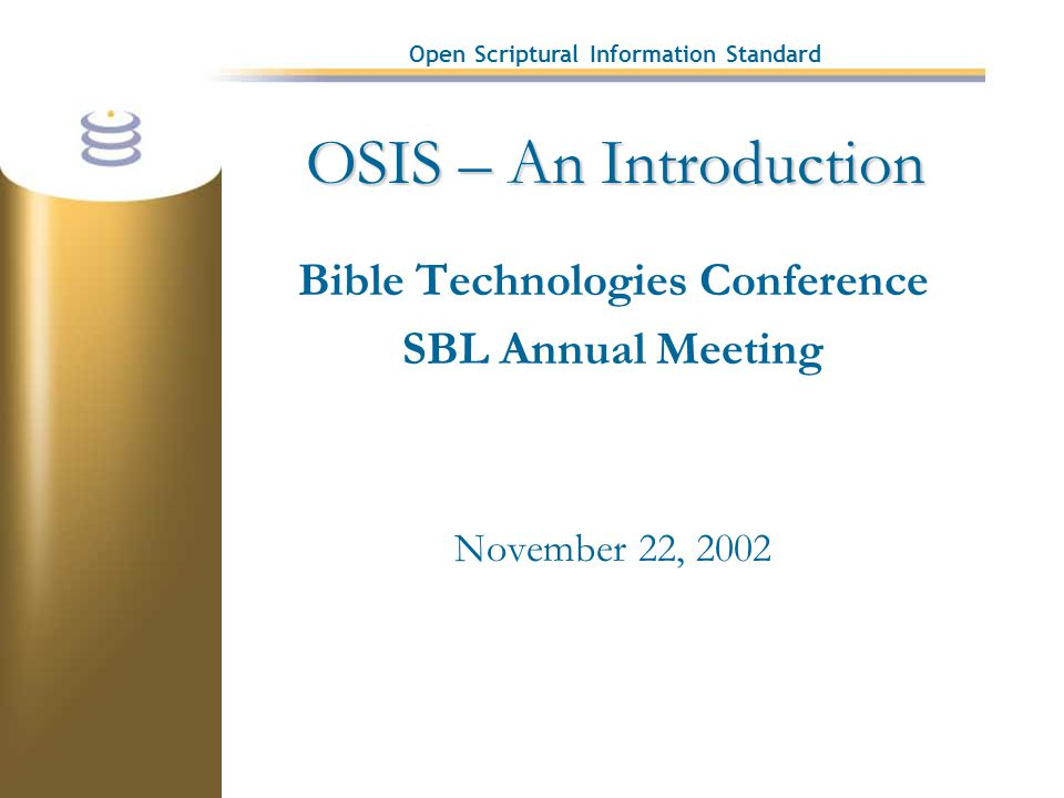 Open Scriptural Information Standard OSIS – An Introduction