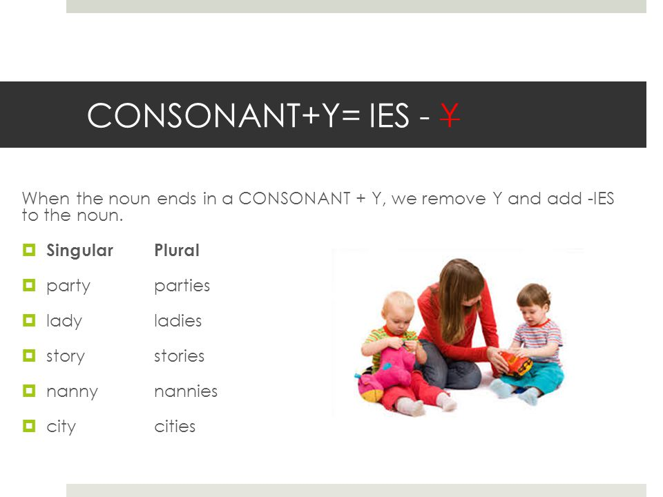 CONSONANT+Y= IES - Y When the noun ends in a CONSONANT + Y, we remove Y and add -IES to the noun.