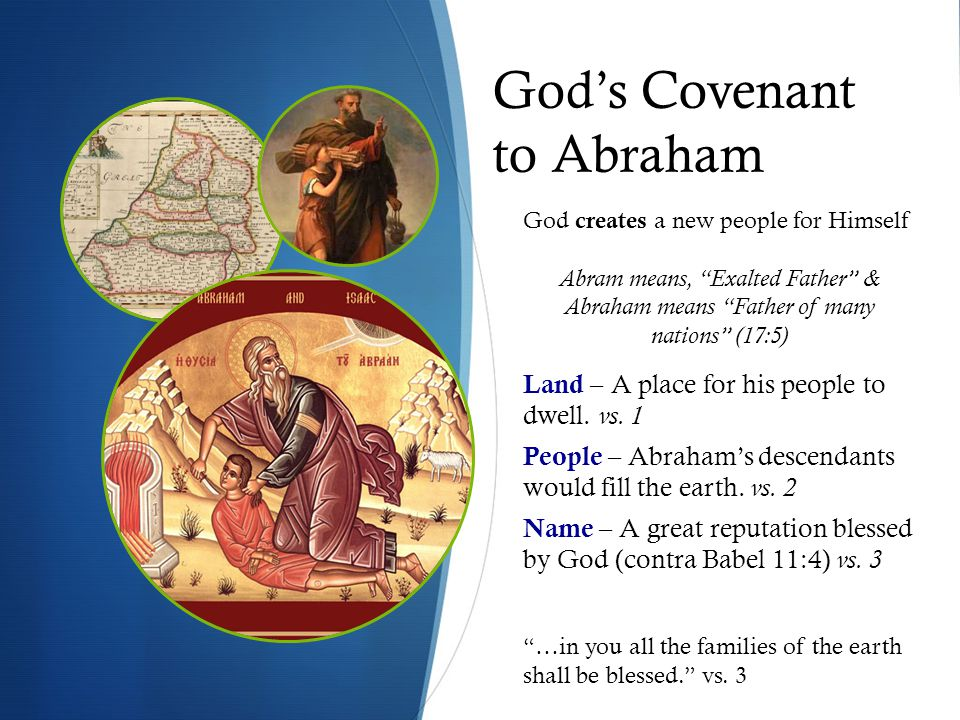 God's Covenant to Abraham Land – A place for his people to dwell.