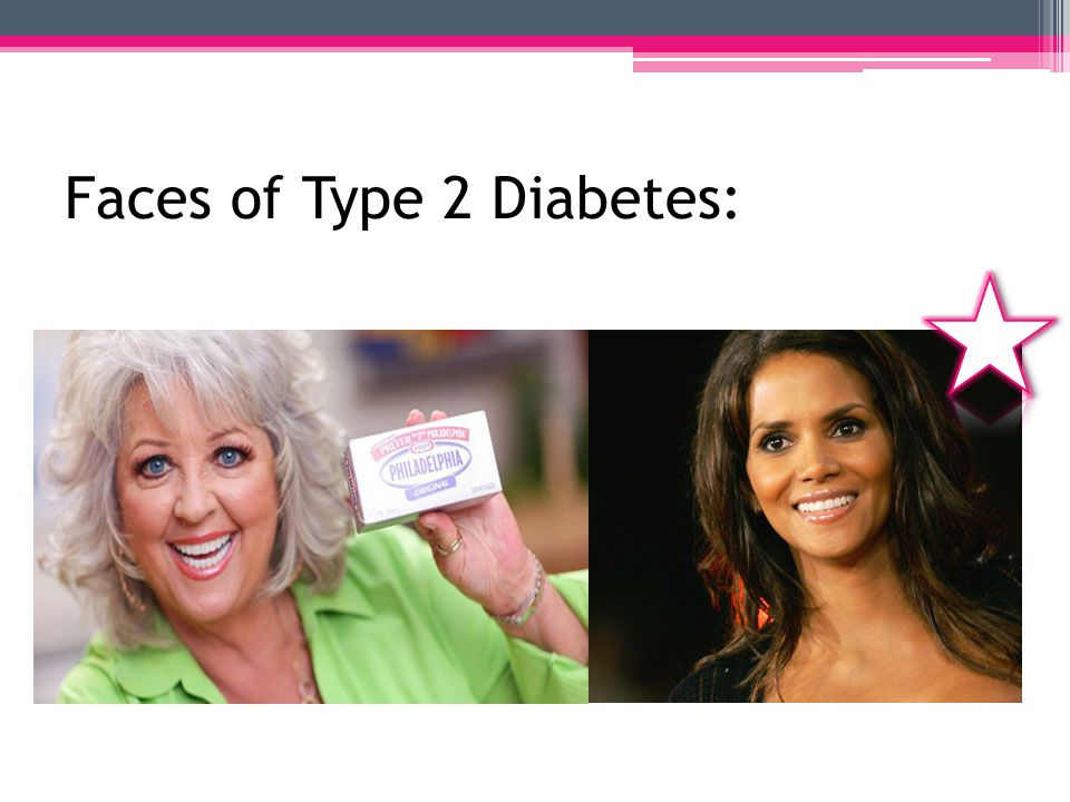 Type 2 Diabetes Statistics: Most common form of diabetes Most common among: African Americans Latinos Native Americans Asian Americans & Pacific Islanders 90-95% of people with diabetes have type 2 80% with type 2 are overweight