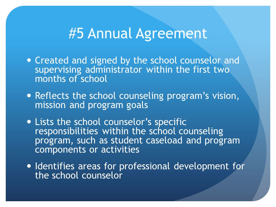 #5 Annual Agreement Created and signed by the school counselor and supervising administrator within the first two months of school Reflects the school counseling program's vision, mission and program goals Lists the school counselor's specific responsibilities within the school counseling program, such as student caseload and program components or activities Identifies areas for professional development for the school counselor