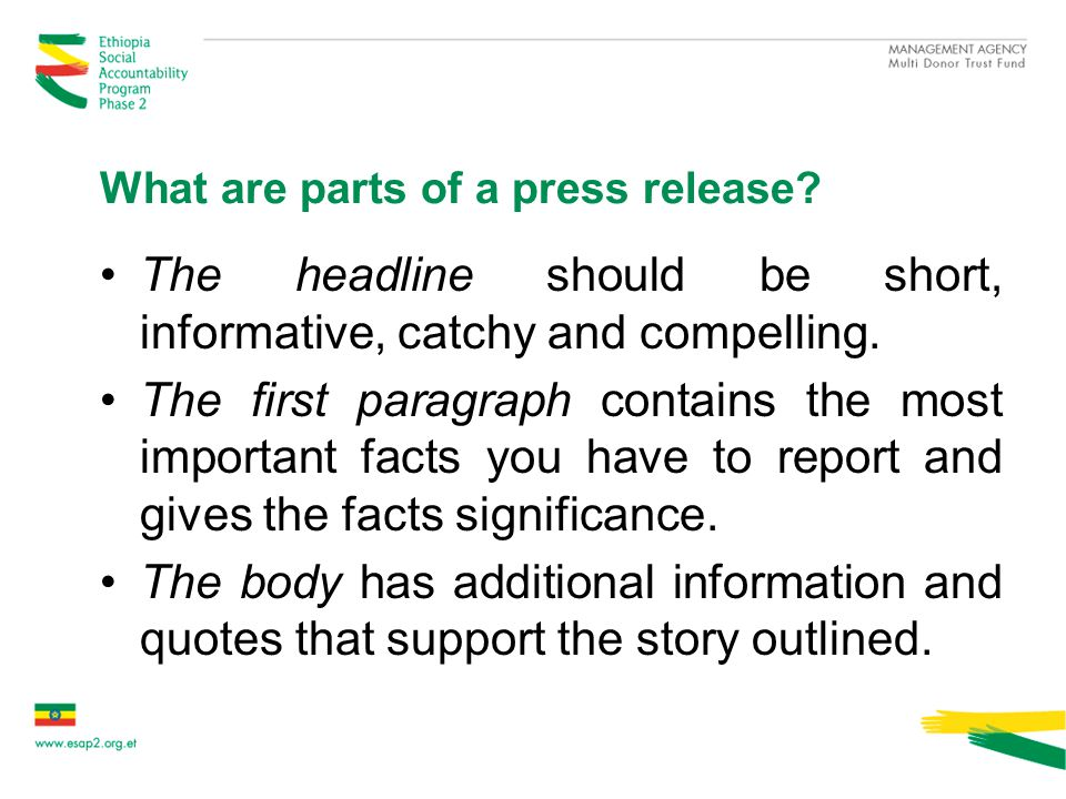 What are parts of a press release.