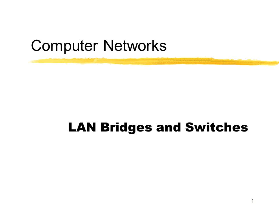 1 Computer Networks LAN Bridges and Switches