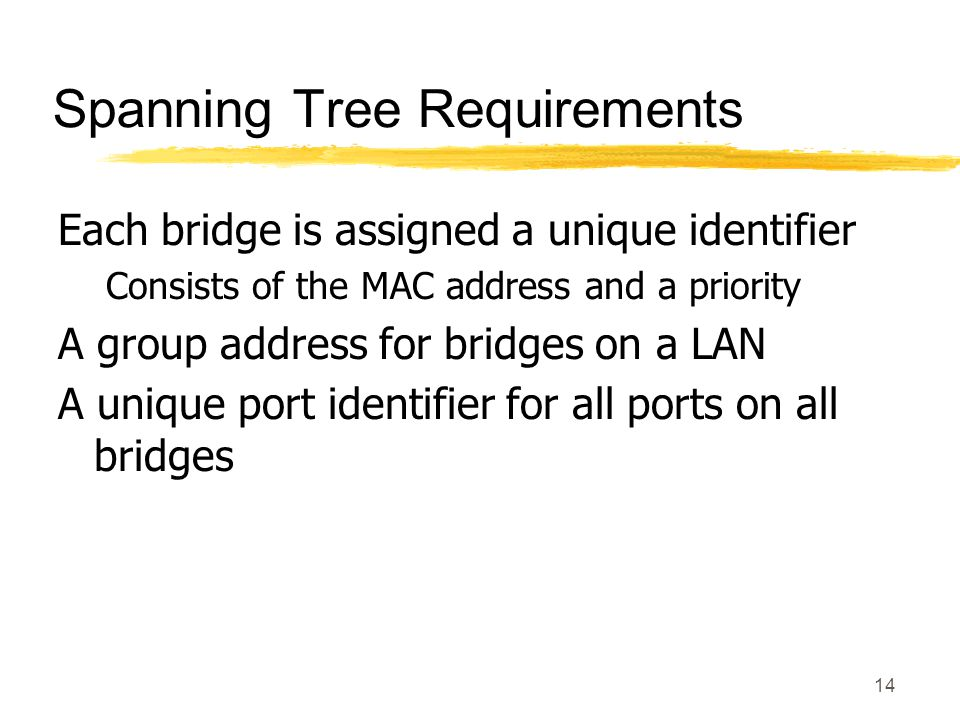 14 Spanning Tree Requirements Each bridge is assigned a unique identifier Consists of the MAC address and a priority A group address for bridges on a LAN A unique port identifier for all ports on all bridges