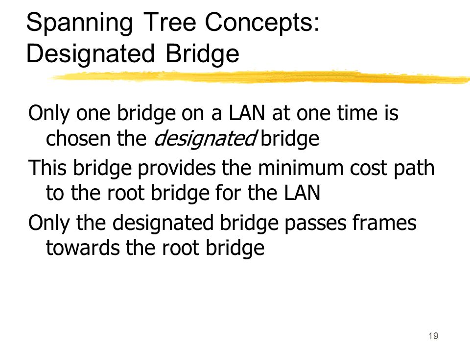 19 Spanning Tree Concepts: Designated Bridge Only one bridge on a LAN at one time is chosen the designated bridge This bridge provides the minimum cost path to the root bridge for the LAN Only the designated bridge passes frames towards the root bridge