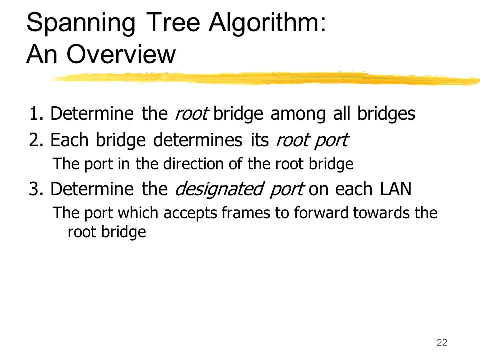 22 Spanning Tree Algorithm: An Overview 1. Determine the root bridge among all bridges 2.