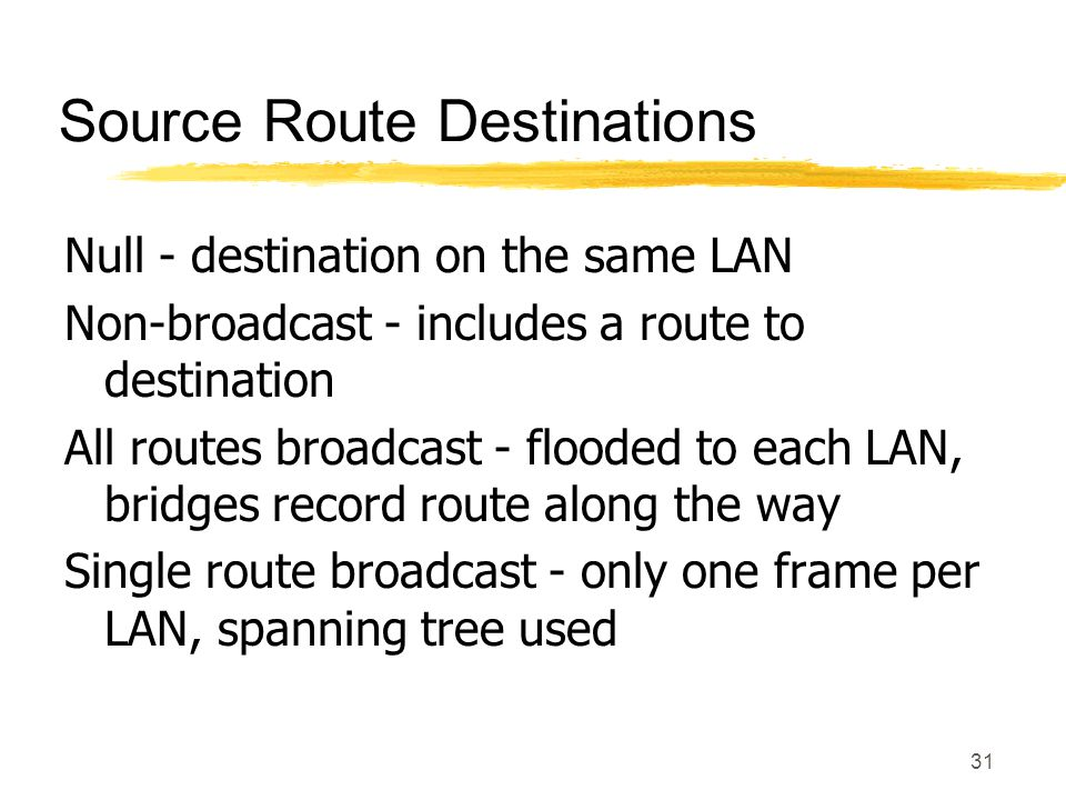 31 Source Route Destinations Null - destination on the same LAN Non-broadcast - includes a route to destination All routes broadcast - flooded to each LAN, bridges record route along the way Single route broadcast - only one frame per LAN, spanning tree used