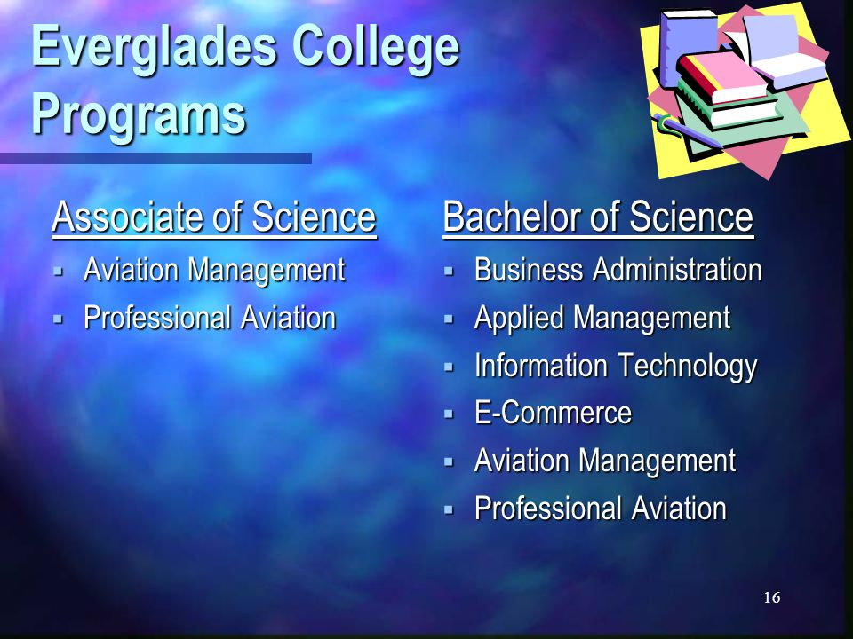 16 Everglades College Programs Associate of Science  Aviation Management  Professional Aviation Bachelor of Science  Business Administration  Applied Management  Information Technology  E-Commerce  Aviation Management  Professional Aviation