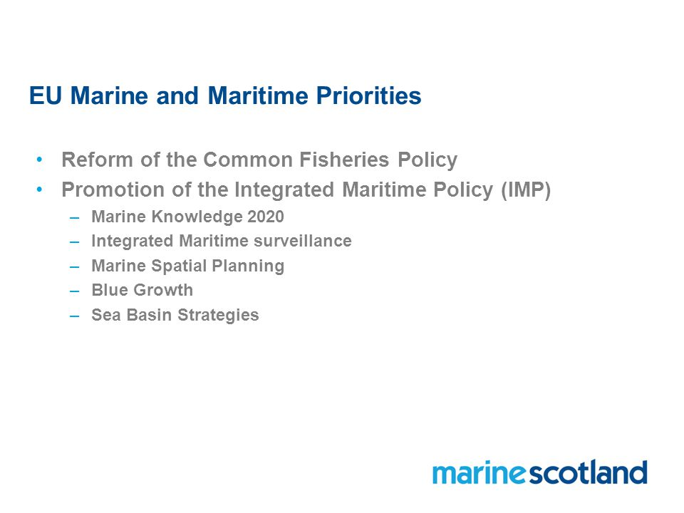 EU Marine and Maritime Priorities Reform of the Common Fisheries Policy Promotion of the Integrated Maritime Policy (IMP) –Marine Knowledge 2020 –Integrated Maritime surveillance –Marine Spatial Planning –Blue Growth –Sea Basin Strategies