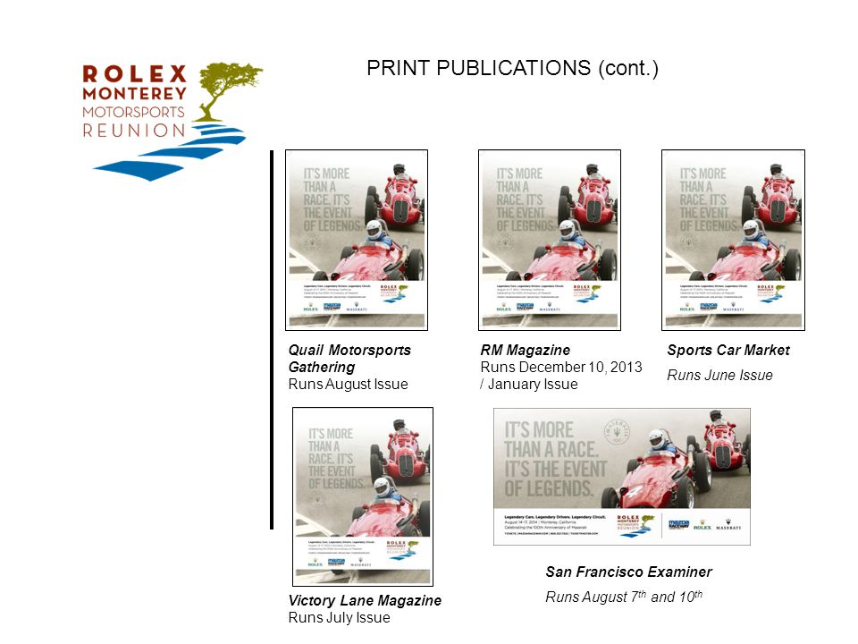 ROLEX MONTEREY MOTORSPORTS REUNION E VENT M ARKETING O VERVIEW ...