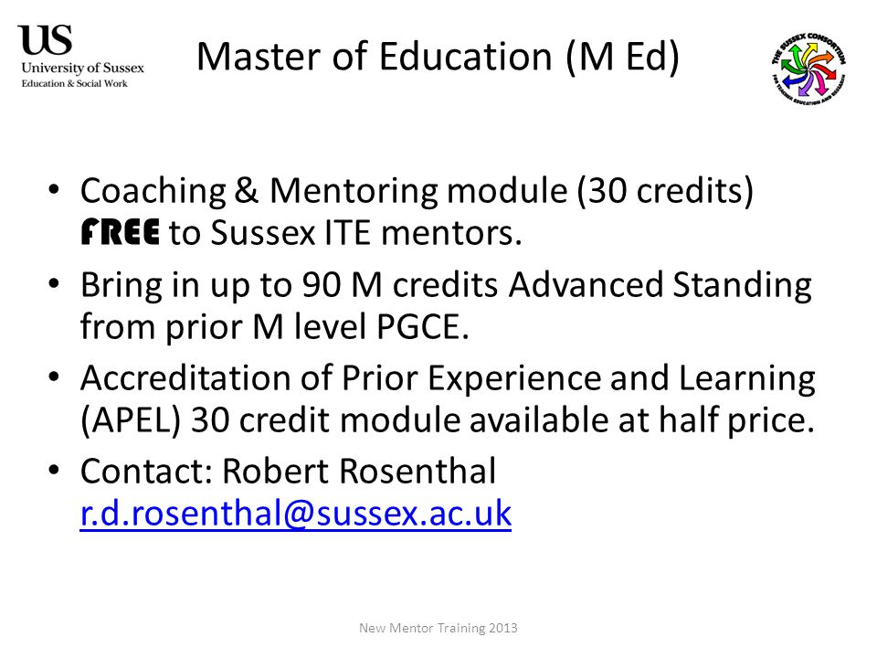 Master of Education (M Ed) Coaching & Mentoring module (30 credits) FREE to Sussex ITE mentors.