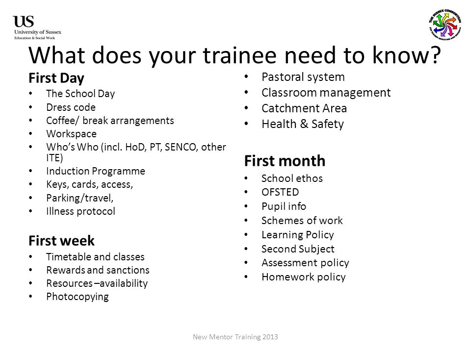 What does your trainee need to know.