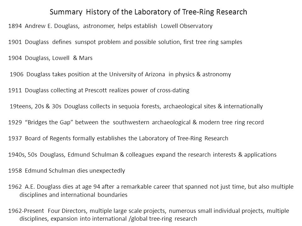 Tree ring dating problems and solutions