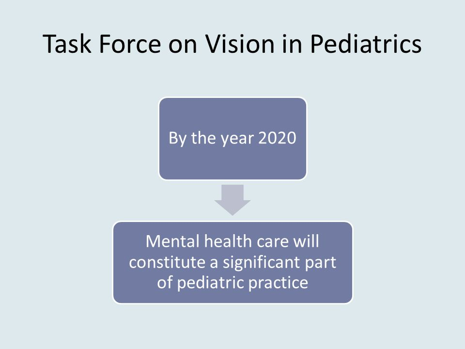 Task Force on Vision in Pediatrics By the year 2020 Mental health care will constitute a significant part of pediatric practice