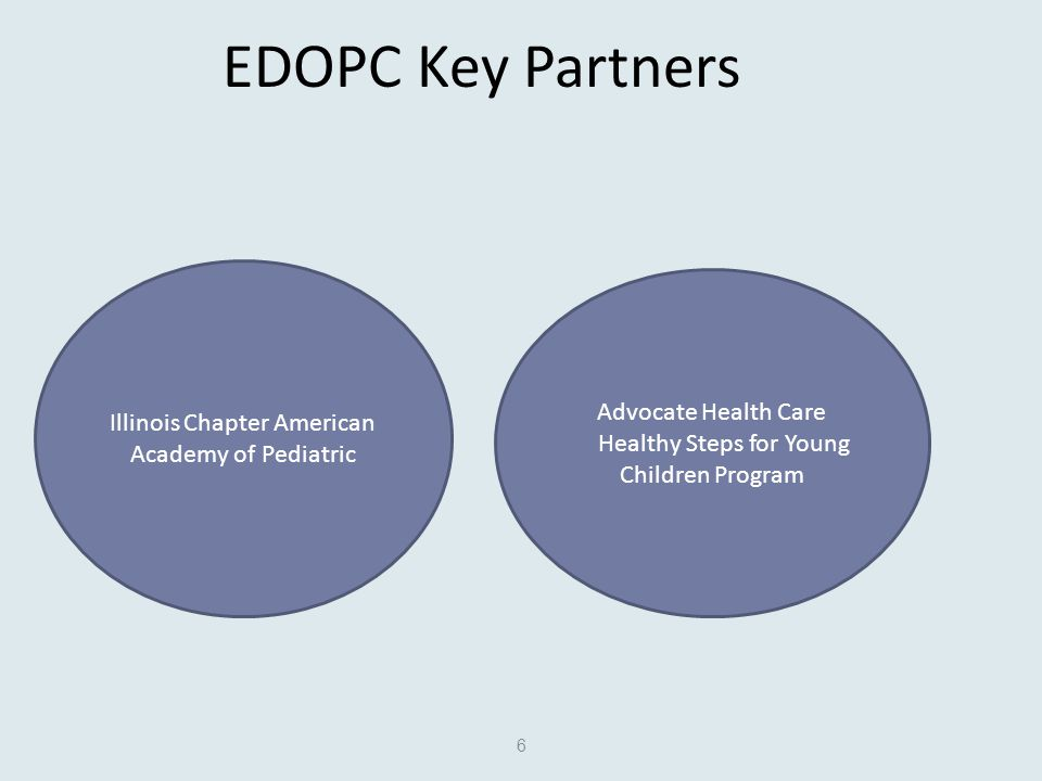 EDOPC Key Partners 6 Illinois Chapter American Academy of Pediatric Advocate Health Care Healthy Steps for Young Children Program