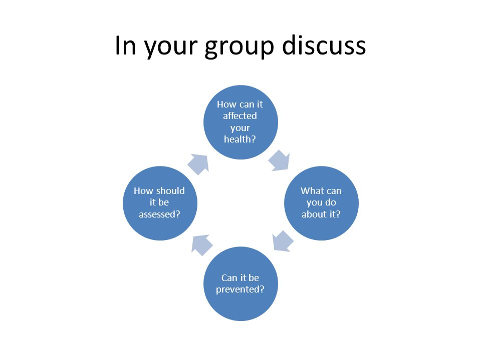 In your group discuss How can it affected your health.